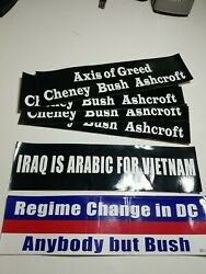 Lot Of 8 Political Bumper Stickers From Early 2000s Democratic Party Liberal