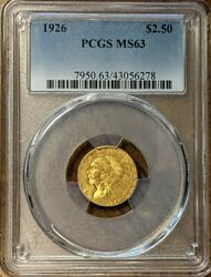 Another 1926 2.50 Indian Gold Quarter Eagle Pcgs Ms63 Spot Free Free Shipping