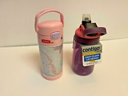 Contigo Kids Water Bottle 14 Oz. Eggpla Punch / Thermos Funtainer 12 Oz 2 Pack