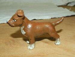 Pit Bull Terrier Dog Cast Iron Paperweight Figurine Hand Painted 3 1/2 Long