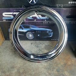 4 New Trim Rings 14 Inch Chrome Over Stainless 2.inch