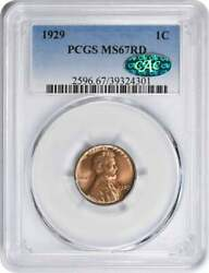 1929 Lincoln Cent Ms67rd Pcgs Cac
