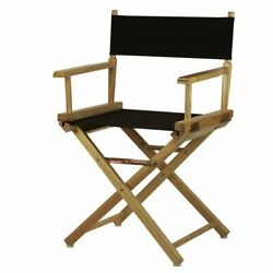 Foldable Director's Chair Solid Wood Frame Portable Classic Design Brown/black