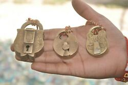 3 Pc Old Brass Handcrafted Different Fine Unique Shape And Size Padlocks