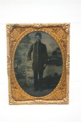 Antique Civil War 1/4 Plate Tintype Photo Armed Union Soldier Young Man Sword