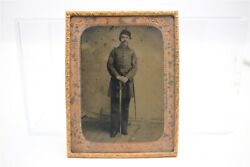 Antique Civil War Tintype Photo Standing Sergeant Armed W/ Sword Large 1/4 Plate