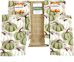 Farmhouse Fall Decor Kitchen Dish Towels Set Welcome Harvest Green And White Pu