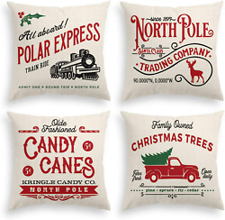 Avoin Christmas Throw Pillow Cover, 16 X 16 Inch Winter Holiday Rustic Farmhouse