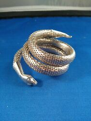 Silver-tone Mesh Triple Coiled Whiting And Davis Snake Bracelet