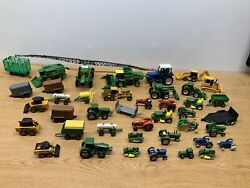 Huge Lot Of Small Diecast Tractors Trailers John Deere Ford