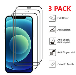 3x Full Coverage Tempered Glass Screen Protector For Iphone 13 12 11 Xs Pro Max