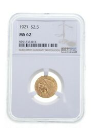 Ms62 1927 2.50 Indian Head Gold Quarter Eagle - Graded Ngc 4873