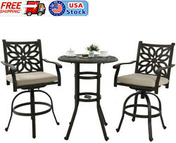 Bar Patio Furniture Set 3 Pcs Cast Aluminum Outdoor Table And Chairs Bistro Set