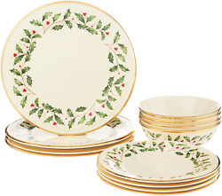 Lenox Holiday 12-piece Plate And Bowl Set, 14.90 Lb, Red And Green