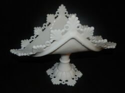 Westmoreland Milk Glass Ring And Petal Footed Pedestal Banana Stand Or Dish
