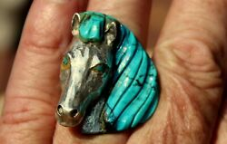 Huge Old Pawn Johnny Blue Jay Hopi Sterling Silver And Turquoise Stone Horse Ring