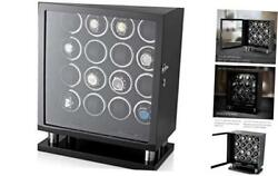Watch Winder For 16 Automatic Watches With Led Backlight And Lcd Black + Black