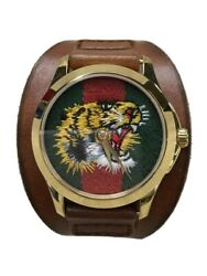 Secondhand Timeless Tiger Watch Analog Leather Green Brown 126.4 Feel
