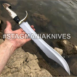 John Henry Rare Hand Forged J2 Steel Hunting Bowie Knife-stag Antler Handle
