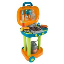 Pretend Play Set Bbq Grill Kids Dinner Playset With Sounds Lights Food Utensils