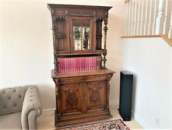 Antique Cabinet, Hutch W. Carved Lion Heads