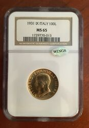 Italy 1931-r Yr. Ix 100 Lire Gem Uncirculated Gold Coin Ngc Certified Ngc Ms65