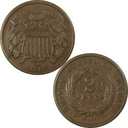 1867 Two Cent Piece Vf Very Fine Bronze 2c Us Type Coin Collectible