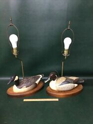 Pair Lamps Hand Carved Wooden Ducks Signed H Heap The Decoy Shop Freeport Me