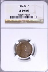 1914-d Lincoln Wheat Cent Penny Ngc Vf20 Free Shipping Knck