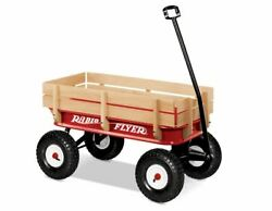 Radio Flyer 36 All-terrain Steel And Wood Wagon Air Tires Red
