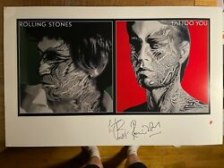 The Rolling Stones Tattoo You Art Print Hand Signed Charlie Watts Ronnie Wood