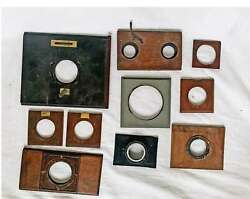Antique Camera Lens Boards Lot Of 10 For Stereo And Detective Wood