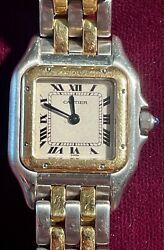 Tank Panthere Ladies Watch - Two Rows Ss/gold 18k