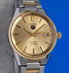 Menand039s Tag Heuer Carrera 18k Gold And Ss Watch - Calibre 5 - Gold Dial - War215a