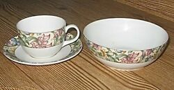 Set Royal Doulton Every Day Jacobean 6 Cereal Bowl Purpose Cup And Saucer 1996