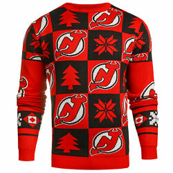 New Jersey Devils Patches Nhl Ugly Crew Neck Sweater By Forever Collectibles