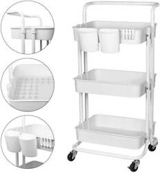 3-tiers Rolling Cart By Recollection Utility Cart Storage Organizer W/ Hook New