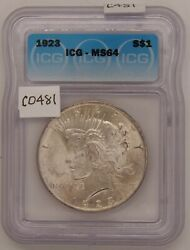 1923 Silver Peace Dollar, Icg, Certified Ms64, Gem Uncirculated, Silver, C481