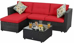 Patio Rattan Furniture Set Outdoor Sectional Sofa End Table With Cushion Red
