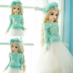 1/3 Bjd Doll 24 Girls Doll Moveable Eyes Wigs Dress Hats Shoes Outfit Xmas Gift