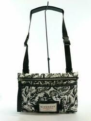 Secondhand Givenchy Floral Print Large Cross Body Bag/nylon/gry/total Handle Bag