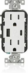 Leviton Decora Type A And C Usb Charger Tamper-resistant Outlet T5633-bw - White