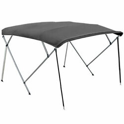 4 Bow Boat Bimini Top Kit Grey 8ft Cover With Hardware 8and039 L X 54 H X 91-96 W