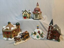 Dickens Collectables Christmas Village Lot Blacksmith Barn Gazebo Carriage Hill