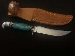 Antique Western Boulder Hunting Knife -green Cracked Ice Hndl/collection -mint