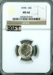 1970 Roosevelt Dime Ngc Mac Ms66 90ft Finest Graded Rare Pop-2 3,000.00 In Ft