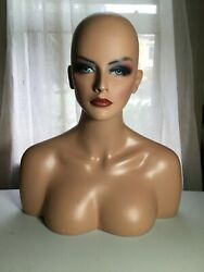 Vintage Store Counter Top Display Mannequin Female Bust Wigs Hats Jewelry