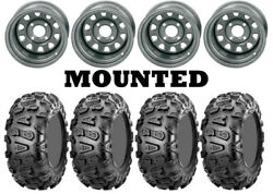 Kit 4 Cst Abuzz Tires 26x8-12/26x10-12 On Itp Delta Steel Silver 12mm Wheels Ter