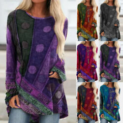 Women Crew Neck Casual Long Sleeve T Shirt Vintage Tunic Blouse Print Loose Tops