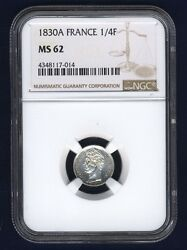 France Charles X 1830-a 1/4 Franc Silver Coin Uncirculated Certified Ngc Ms-62